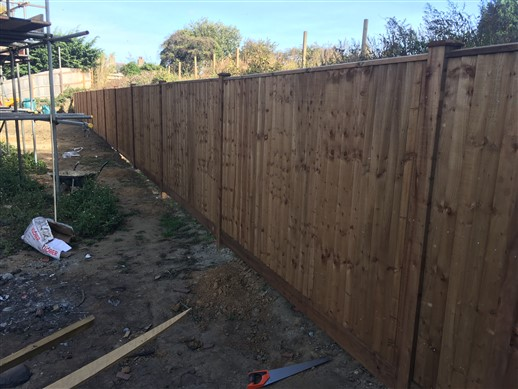 Feather edge is constructed on site consisting of the feather edge and arris rail to rear can be made with wooden or concrete post which may be moticed also a choice of concrete or wooden gravel boards aa fencing are specialist in all types of fencing services